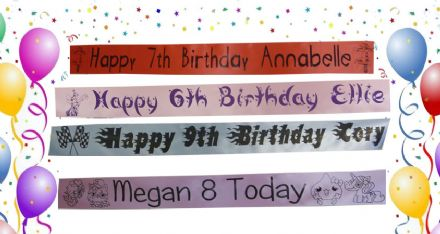 Personalised 6th 7th 8th 9th 10th Birthday Banner